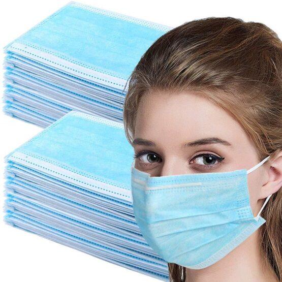 50 Máscaras Faciais 3 Camadas c/ Caixa Ligeiramente Danificada