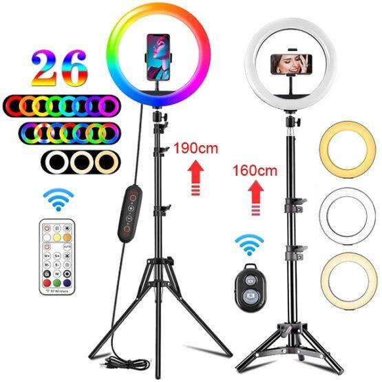 Kit Completo Ring Light c/ tripé e suporte telemóvel RGB