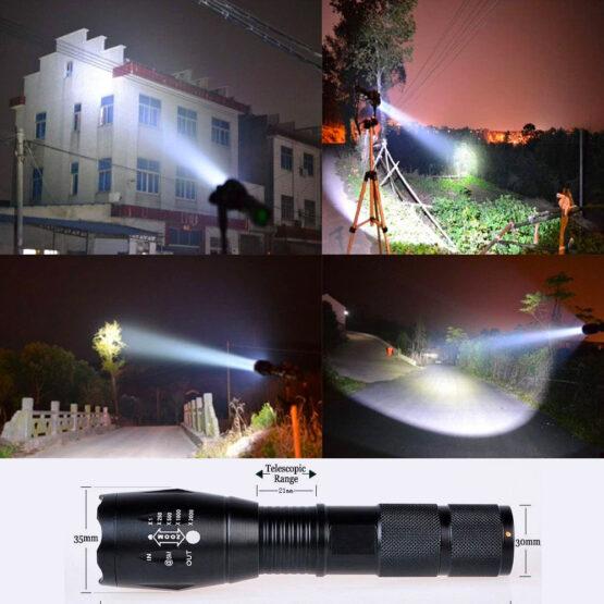 Lanterna Táctica LED c/ zoom 2000W